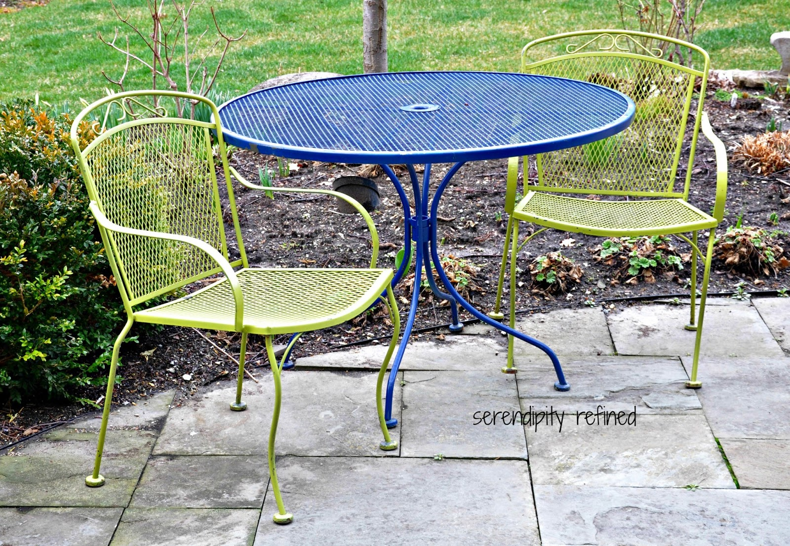 Brightly Colored Wrought Iron Patio