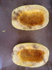 Slicing a spaghetti squash is hard. Be careful.