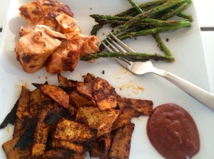 And asparagus and sweet potato fries. always.