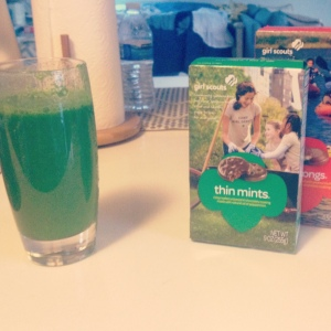 The ever popular decision...will you have green juice or thin mints?