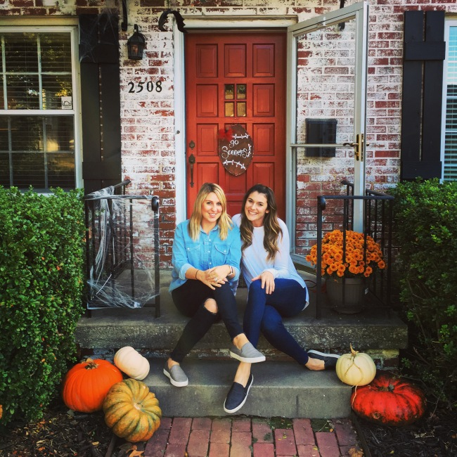 A fall front porch + a best friend in town = bliss